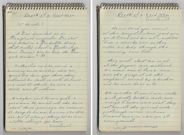 DEATH OF A GOOD MAN handwritten lyrics from Bruce Springsteen's 1968 lyrics notebook