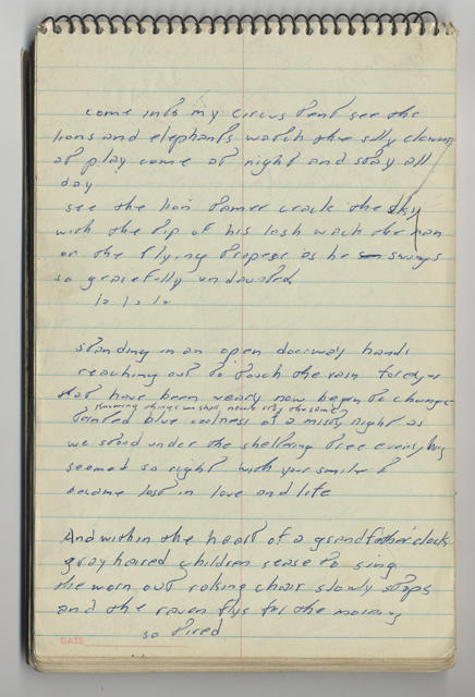 LOVE CYCLE handwritten lyrics from Bruce Springsteen's 1968 lyrics notebook (page 3)