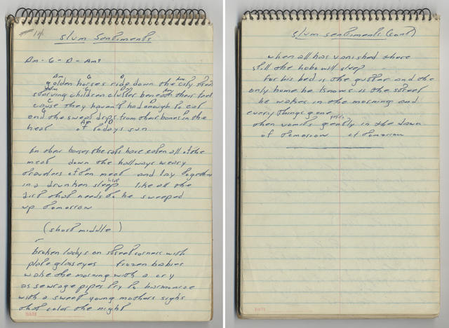 SLUM SENTIMENTS handwritten lyrics from Bruce Springsteen's 1968 lyrics notebook