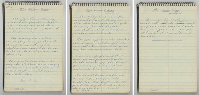 THE VIRGIN FLOWER handwritten lyrics from Bruce Springsteen's 1968 lyrics notebook