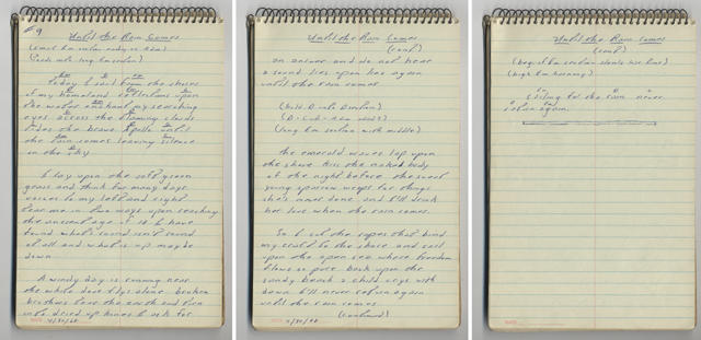 UNTIL THE RAIN COMES handwritten lyrics from Bruce Springsteen's 1968 lyrics notebook