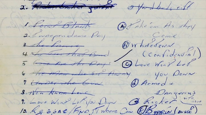 Bruce Springsteen handwritten song list from 1979-1980