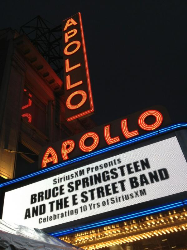 Marquee for the 09 Mar 2012 show at Apollo Theater -- Christopher Phillips photo (Backstreets.com), used with permission