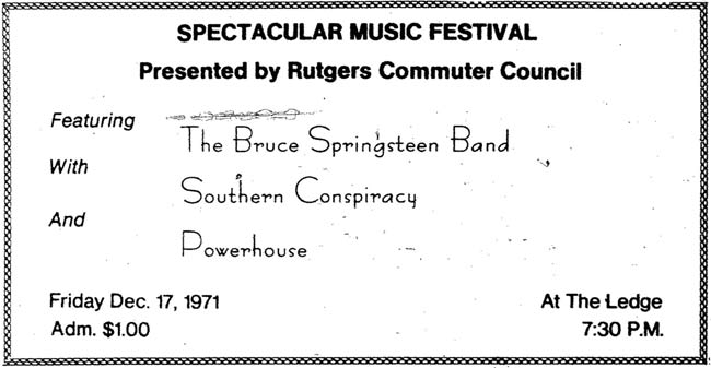 Promotional ad for the 17 Dec 1971 show at Rutgers University, New Brunswick, NJ