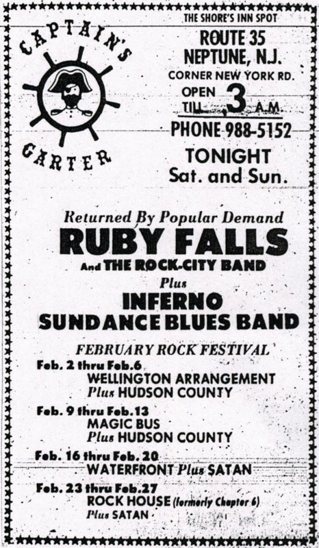 Promotional ad for the January 1972 The Sundance Blues Band three-night residency at The Captain's Garter, Neptune, NJ