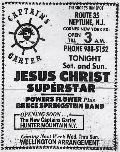 Promotional ad for the Jan 1972 The Bruce Springsteen Band three-night residency at The Captain's Garter, Neptune, NJ