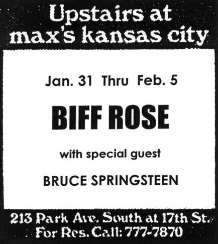 Promotional ad for the Jan-Feb 1973 six-night residency at Max's Kansas City, New York City, NY