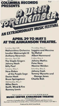 Promotional ad for the 1974 'A Week To Remember' event at Ahmanson Theatre, Los Angeles, CA
