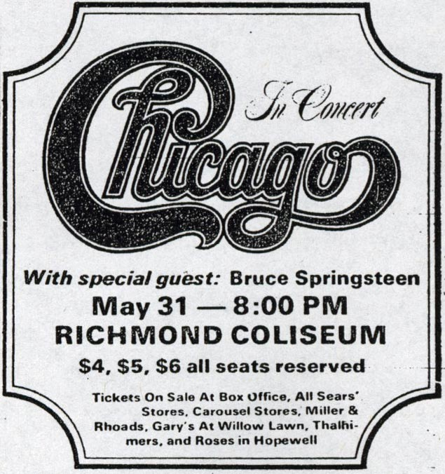 Promotional ad for the 31 May 1973 show at Richmond Coliseum, Richmond, VA