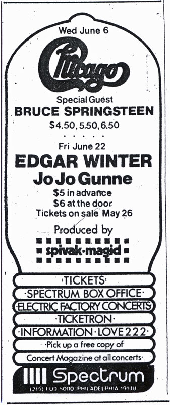Promotional ad for the 06 Jun 1973 show at Spectrum, Philadelphia, PA