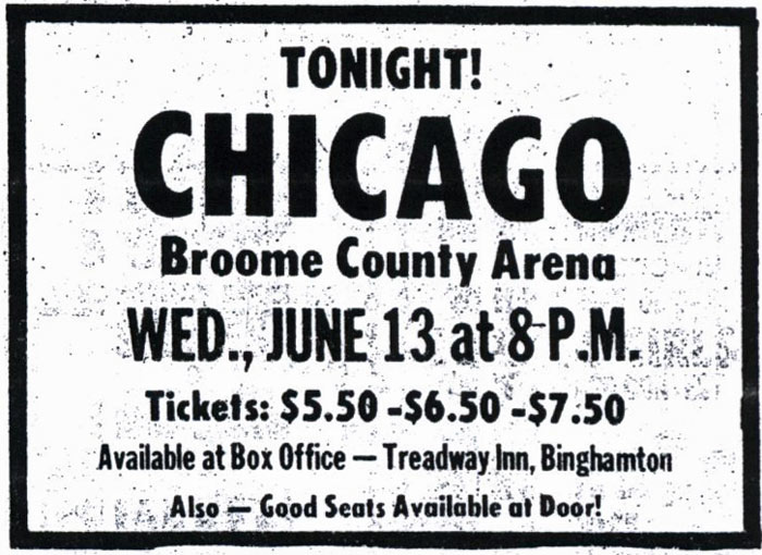 Promotional ad for the 13 Jun 1973 show at Broome County Veterans Memorial Arena, Binghamton, NY