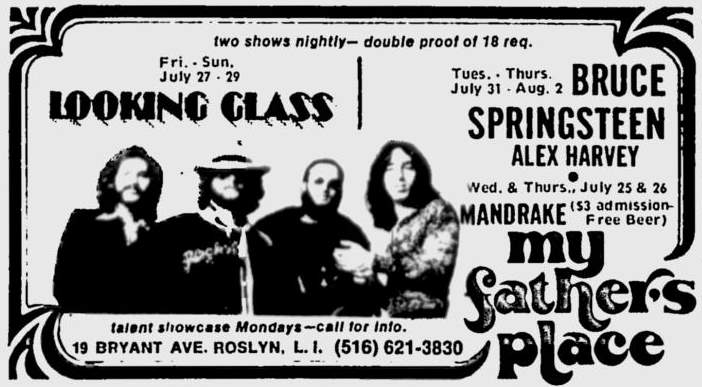 Promotional ad for the Jul-Aug 1973 three-night residency at My Father's Place, Roslyn, NY