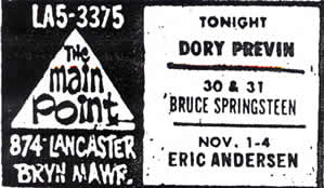 Promotional ad for the 30 and 31 Oct 1973 shows at The Main Point, Bryn Mawr, PA