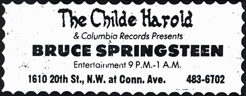 Promotional ad for the 06 Dec 1973 show at Childe Harold, Washington, DC