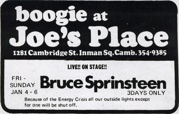 Promotional ad for the January 1974 three-night stand at Joe's Place, Cambridge, MA