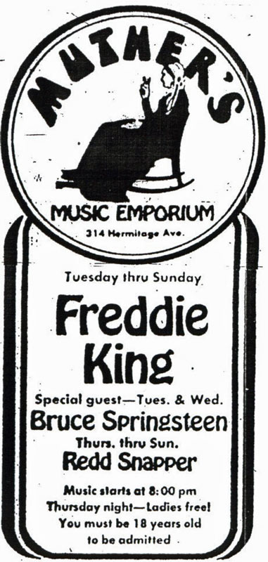 Promotional ad for the 29 Jan to 03 Feb 1974 shows at Muther's Music Emporium, Nashville, TN