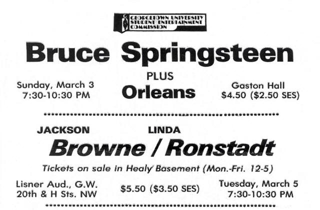 Promotional ad for the 03 Mar 1974 shows at Georgetown University, Washington, DC