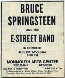 Promotional ad for the August 1976 six-night stand at Monmouth Arts Center, Red Bank, NJ