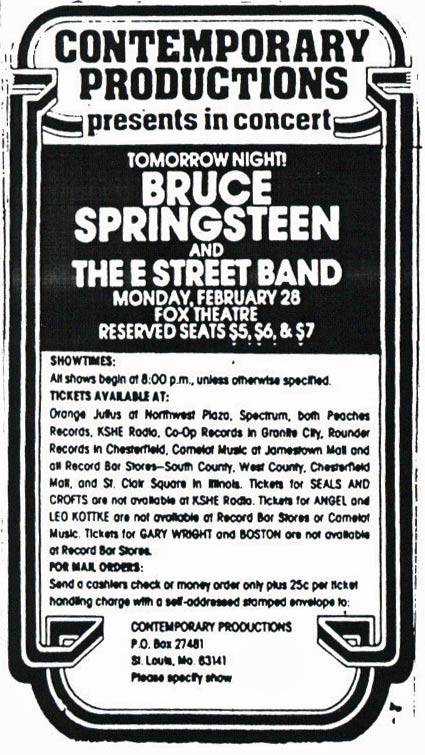Promotional ad for the 28 Feb 1977 show at Fox Theatre, St. Louis, MO