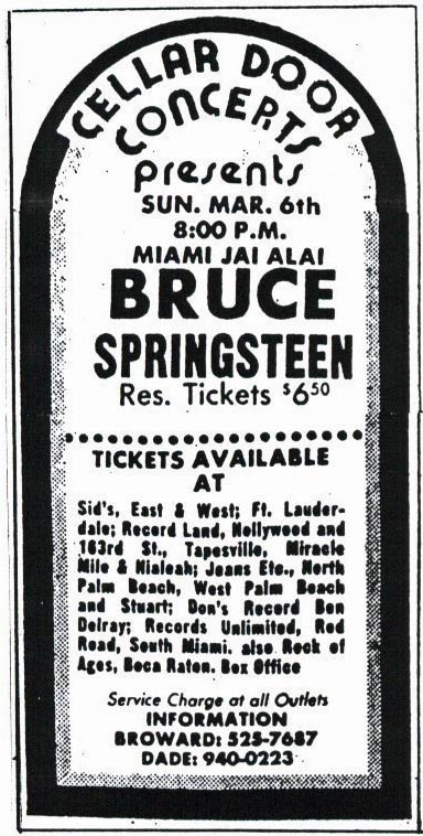 Promotional ad for the 06 Mar 1977 show at Jai Alai Fronton, Miami, FL