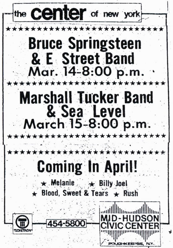 Promotional ad for the 14 Mar 1977 show at Mid-Hudson Civic Center, Poughkeepsie, NY