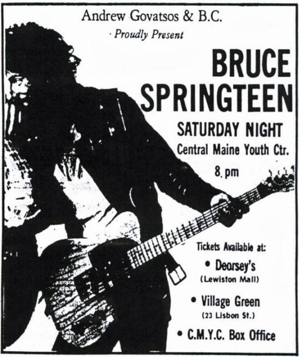 Promotional ad for the 19 Mar 1977 show at Central Maine Youth Center, Lewiston, ME