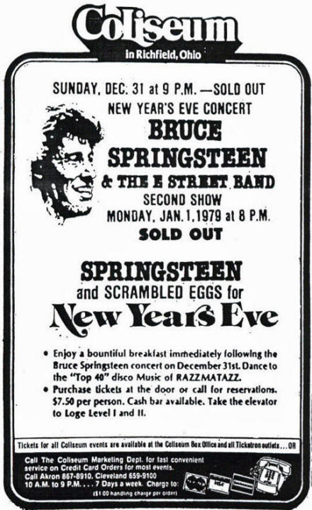 Promotional ad for the 31 Dec 1978 and 01 Jan 1979 shows at Richfield Coliseum, Richfield, OH