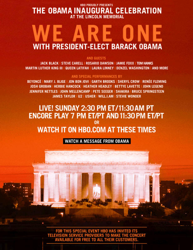 Online ad for the 18 Jan 2009 concert at Lincoln Memorial, Washington, DC