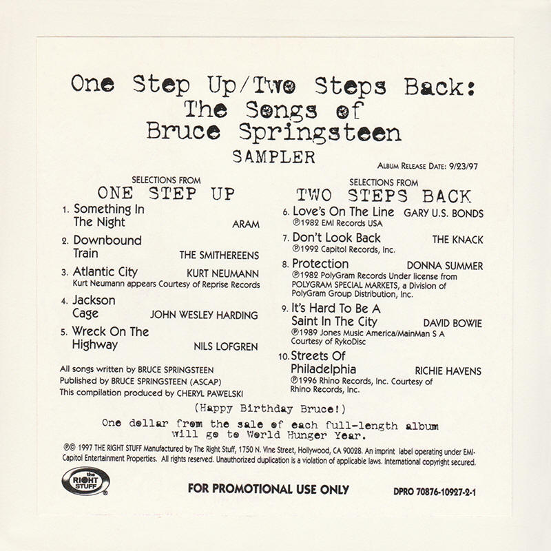 Various artists -- One Step Up / Two Steps Back: The Songs Of Bruce Springsteen Sampler