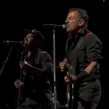 Bruce Springsteen and Tom Morello performing CLAMPDOWN on 29 Apr 2014 at BB&T Center in Sunrise, FL, during the High Hopes Tour