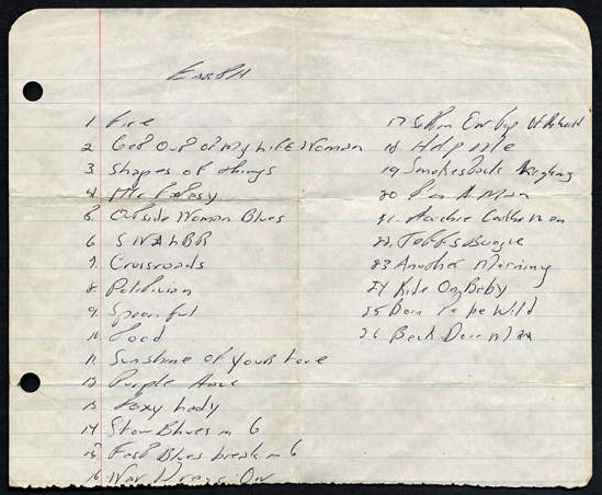 Bruce Springsteen handwritten song list from September or October 1968