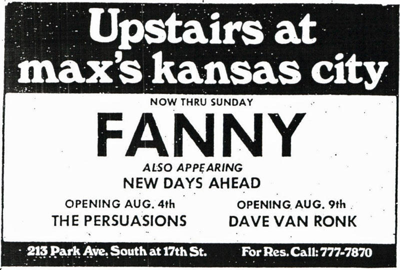 Advertisement for the August 1972 shows at Max's Kansas City, New York City, NY