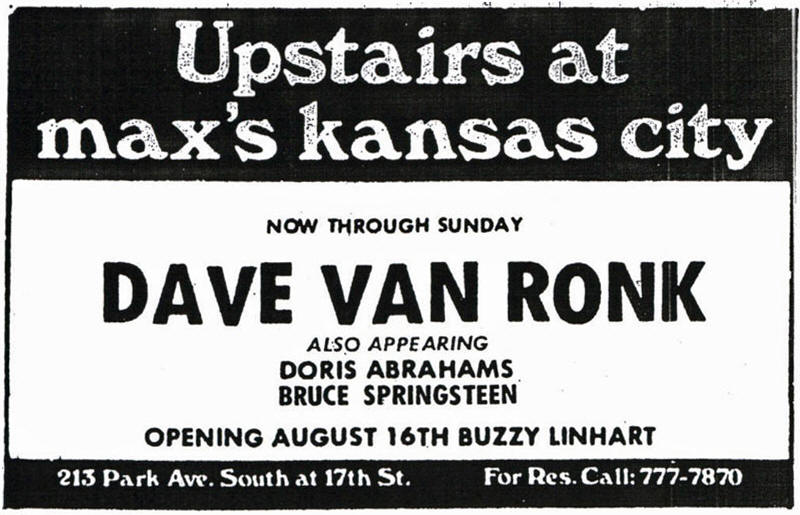 Advertisement for Dave Van Ronk's August 1972 residency at Max's Kansas City, New York City, NY