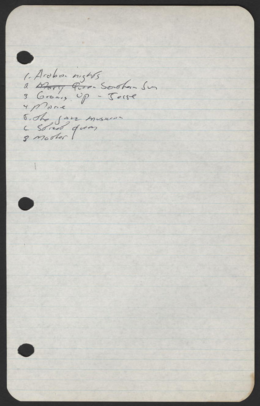 1972 handwritten song list