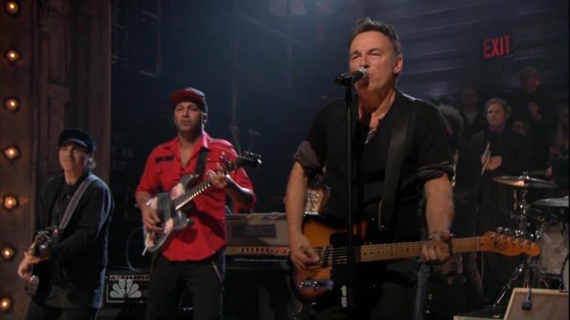 Bruce Springsteen performing DEATH TO MY HOMETOWN with the E Street Band and Tom Morello on 02 Mar 2012 on Late Night With Jimmy Fallon (taken from the NBC broadcast)