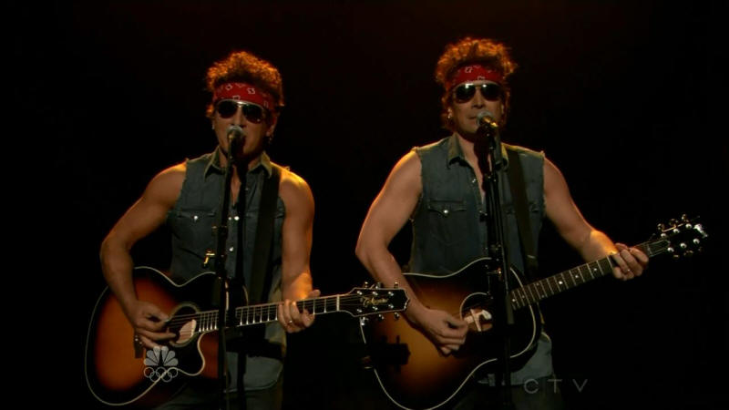 Bruce Springsteen performing GOVERNOR CHRISTIE TRAFFIC JAM with Jimmy Fallon on 14 Jan 2014 on Late Night With Jimmy Fallon (taken from the NBC broadcast)