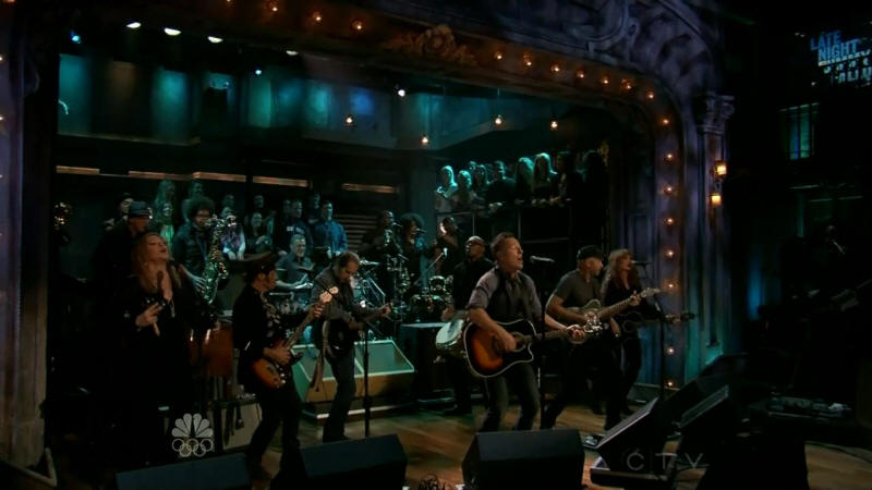 Bruce Springsteen performing HIGH HOPES with the E Street Band and Tom Morello on 14 Jan 2014 on Late Night With Jimmy Fallon (taken from the NBC broadcast)