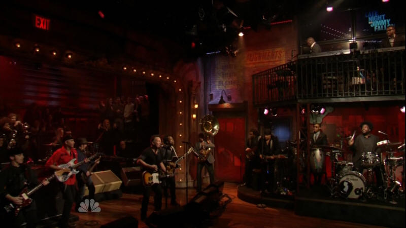 Bruce Springsteen performing THE E STREET SHUFFLE with the E Street Band, The Roots, and Tom Morello on 02 Mar 2012 on Late Night With Jimmy Fallon (taken from the NBC broadcast)