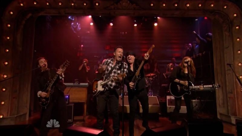 Bruce Springsteen performing WE TAKE CARE OF OUR OWN with the E Street Band on 27 Feb 2012 on Late Night With Jimmy Fallon (taken from the NBC broadcast)