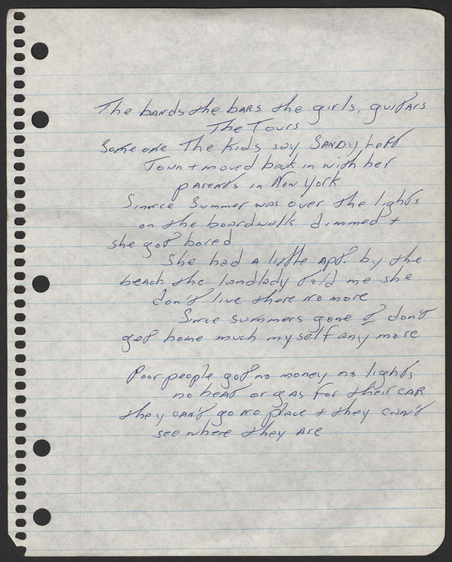 Bruce Springsteen handwritten lyrics sheet for an early draft of 4TH OF JULY, ASBURY PARK (SANDY)