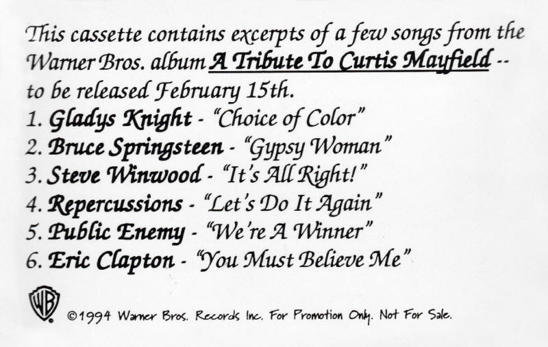Various artists -- A Tribute to Curtis Mayfield (sampler cover art)