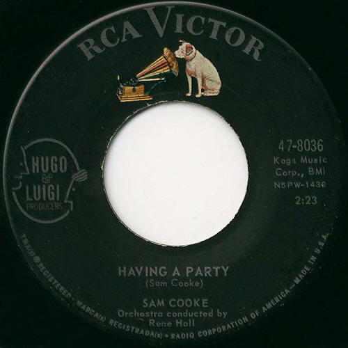 "Sam Cooke -- ""Bring It On Home To Me / Having A Party"" (single label)"