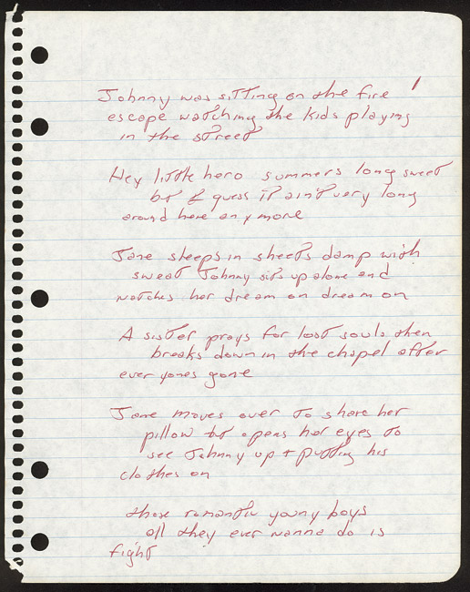 Bruce Springsteen handwritten lyrics sheet for an early draft of INCIDENT ON 57TH STREET