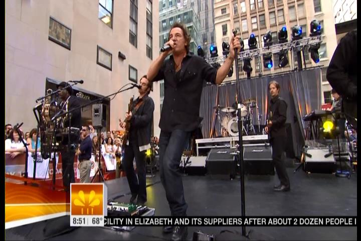 Bruce Springsteen performing LIVIN' IN THE FUTURE during the 28 Sep 2007 at Rockefeller Plaza in New York City, NY, during The Today Show live broadcast