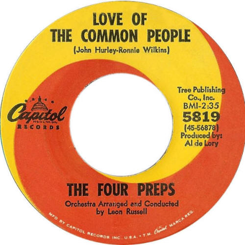 "The Four Preps -- ""Love Of The Common People / What I Don't Know Can't Hurt Me"""
