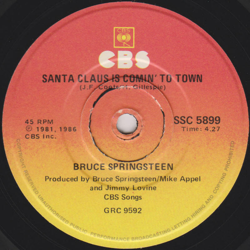 "Bruce Springsteen -- ""My Hometown / Santa Claus Is Comin' To Town"""
