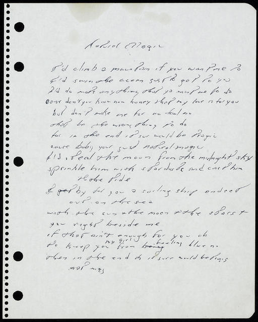 Bruce Springsteen handwritten lyrics for NATURAL MAGIC