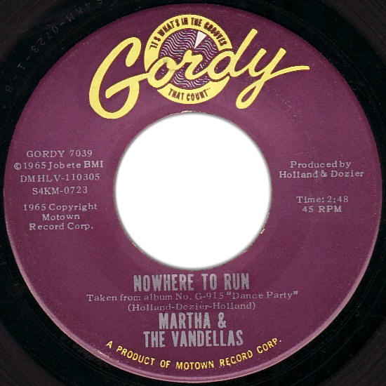 "Martha And The Vandellas -- ""Nowhere To Run / Motoring"" (single, front sleeve)"