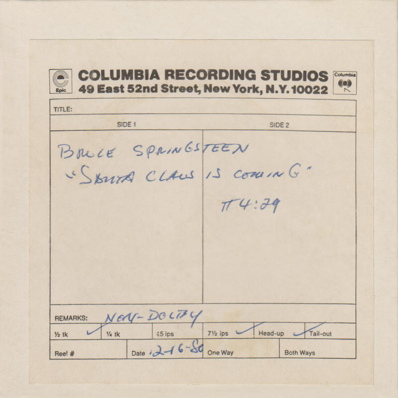 "Bruce Springsteen -- ""Santa Claus Is Comin' To Town"" (Columbia reel-to-reel tape)"