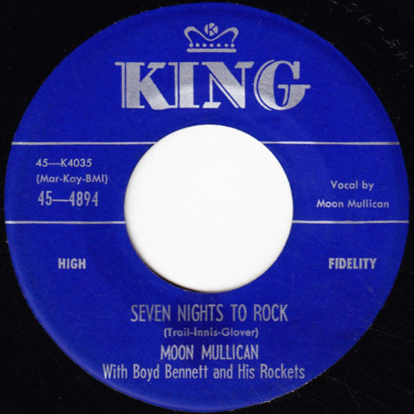 "Moon Mullican -- ""Honolulu Rock-A Roll-A / Seven Nights To Rock"""